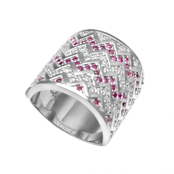 Ring  Rhodium Plated over Sterling Silver 925 and Zirconia HR-156