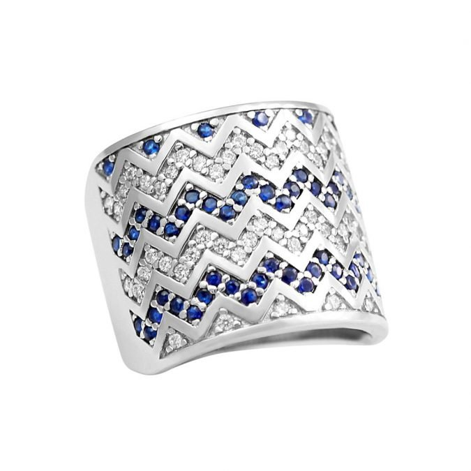 Ring  Rhodium Plated over Sterling Silver 925 and Zirconia HR-157
